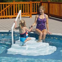 Wedding Cake Above Ground Pool Step with Liner Pad - White