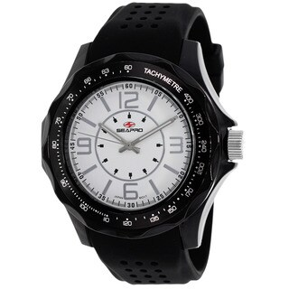 Seapro Men's Dynamic Round Black Rubber Strap Watch