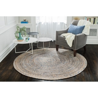 Jani Keira Denim and Jute Hand Loomed Rug (4' Round)