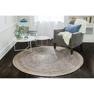 Jani Keira Denim and Jute Hand Loomed Rug (6' Round) - 6'