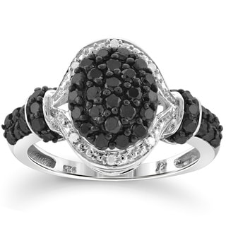 Jewelonfire Sterling Silver 1ct TDW Black and White Diamond Oval Shape Ring