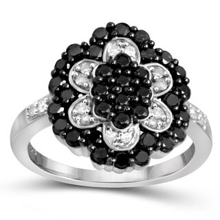 Jewelonfire Sterling Silver 1ct TDW Black and White Diamond Flower Ring