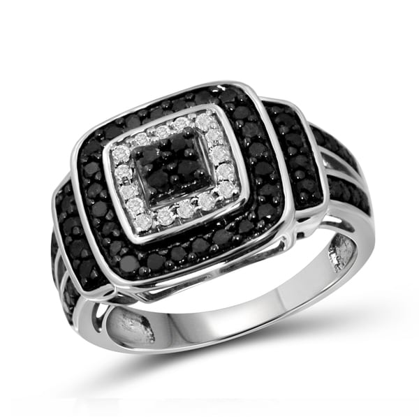 Jewelonfire Sterling Silver 1ct TDW Black and White Diamond Split Shank Ring