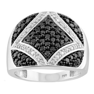 Jewelonfire Sterling Silver 1ct TDW Black and White Diamond Dome Ring (I-J, I2-I3)
