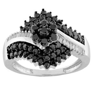 Jewelonfire Sterling Silver 1ct TDW Black and White Diamond Cluster Bypass Ring (I-J, I2-I3)