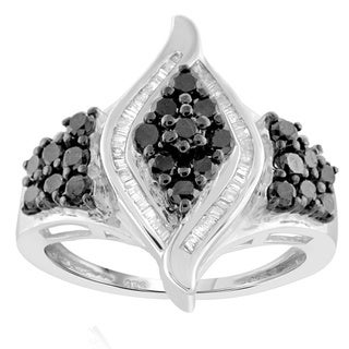 Jewelonfire Sterling Silver 1ct TDW Black and White Diamond Marquise Shape Ring