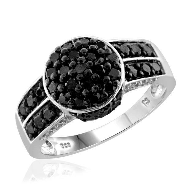 Jewelonfire Sterling Silver 1ct TDW Black and White Diamond Round Shape Ring 17991739