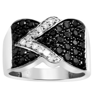 Jewelonfire Sterling Silver 1ct TDW Black and White Diamond Twist Ring
