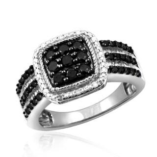 Jewelonfire Sterling Silver 1ct TDW Black and White Diamond Square Shape Ring (I-J, I2-I3)