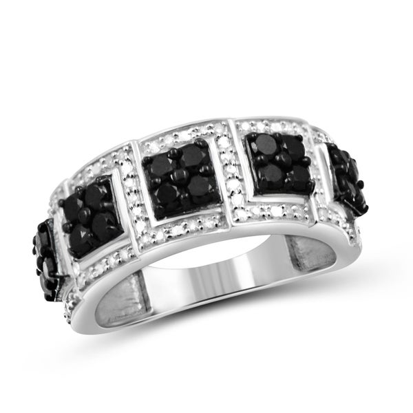 Jewelonfire Sterling Silver 1ct TDW Black and White Diamond Wedding Band Ring