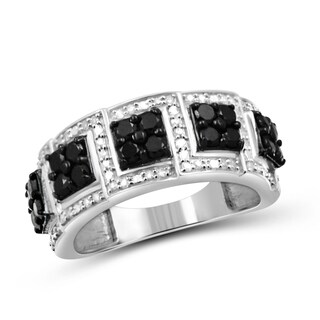 Jewelonfire Sterling Silver 1ct TDW Black and White Diamond Wedding Band Ring (3 options available)