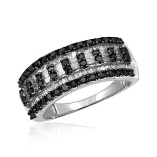 Jewelonfire Sterling Silver 1ct TDW Black and White Diamond Strip Ring