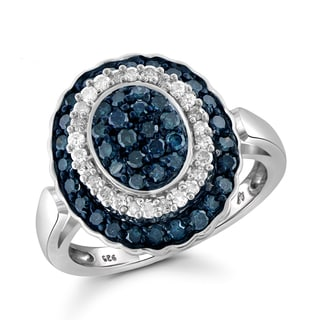 Jewelonfire Sterling Silver 1ct TDW Blue and White Diamond Oval Shape Ring