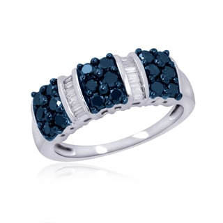 Jewelonfire Sterling Silver 1ct TDW Blue and White Diamond Strip Ring