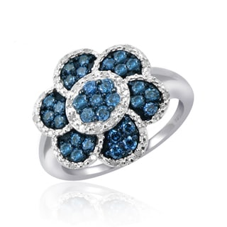 Jewelonfire Sterling Silver 1ct TDW Blue and White Diamond Flower Ring ( I2-I3)