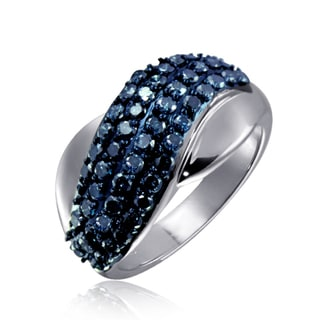 Jewelonfire Sterling Silver 1ct TDW Blue Diamond Crossover Ring ( I2-I3)