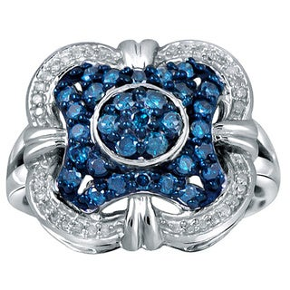 Jewelonfire Sterling Silver 1ct TDW Blue and White Diamond Clover Ring ( I2-I3)