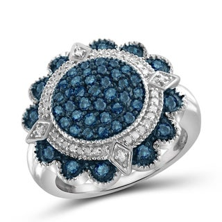 Jewelonfire Sterling Silver 1ct TDW Blue and White Diamond Flower Ring