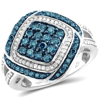 Jewelonfire Sterling Silver 1ct TDW Blue and White Diamond Kite Shape Ring ( I2-I3)