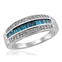Jewelonfire Sterling Silver 3/4ct TDW Blue and White Diamond Ring