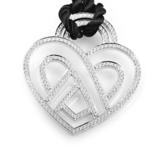 18k White Gold Diamond Accent Poiray Wire Heart Framework Pendant Cord Necklace