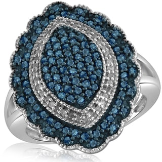 Jewelonfire Sterling Silver 1ct TDW Blue and White Diamond Marquise Shape Ring