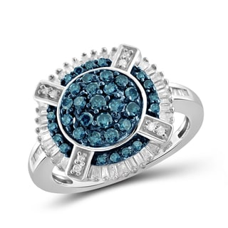 Jewelonfire Sterling Silver 1ct Diamond Round Shape Ring Blue