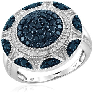 Jewelonfire Sterling Silver 1ct TDW Blue and White Diamond Round Shape Ring ( I2-I3)