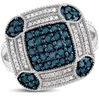 Jewelonfire Sterling Silver 1ct TDW Blue and White Diamond Cusion Shape Ring ( I2-I3)