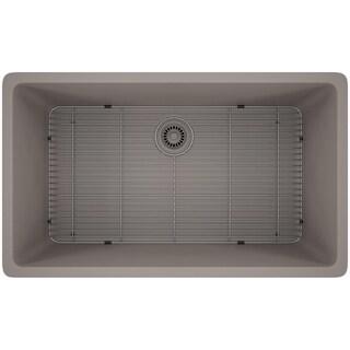 Lexicon Platinum Quartz Composite 32x19-inch Kitchen Sink with Large Single Bowl (Option: Matte - Concrete)