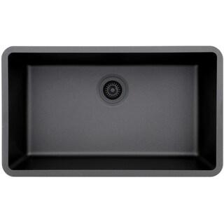 Lexicon Platinum Quartz Composite 32x19-inch Kitchen Sink with Large Single Bowl (Option: Onyx - Black Finish)