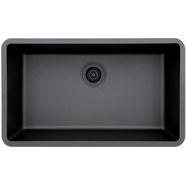 Lexicon Platinum Quartz Composite 32x19 Inch Kitchen Sink With Large Single Bowl