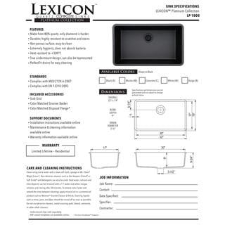 Lexicon Platinum Quartz Composite 32 x 19 x 9 in. D Kitchen Sink with Large Single Bowl