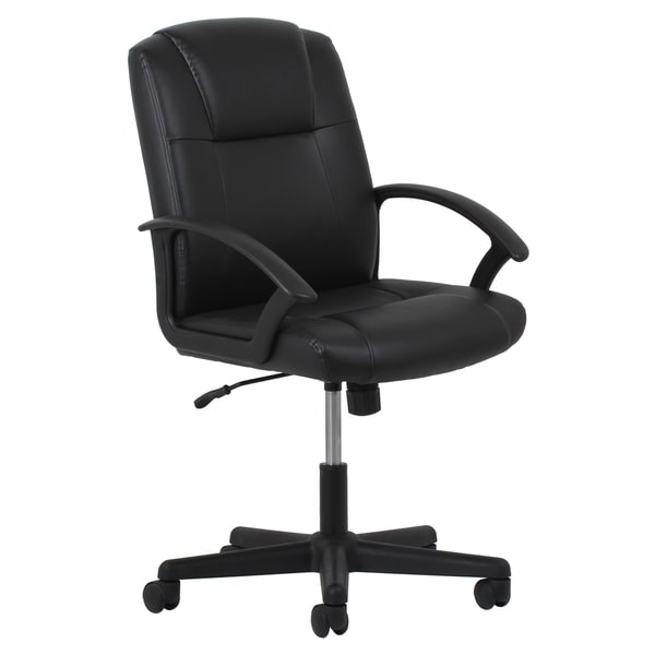 ofm essentials adjustable black leather office chair - free