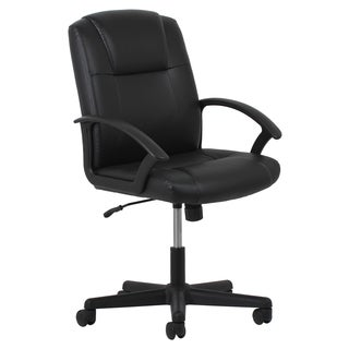 OFM Essentials Adjustable Black Leather Office Chair