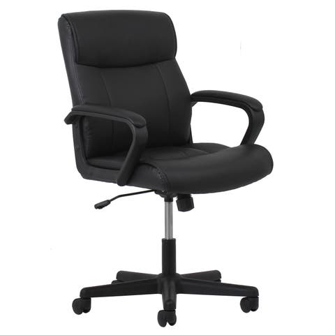 OFM Essentials Black Leather Office Chair with Segmented Padding