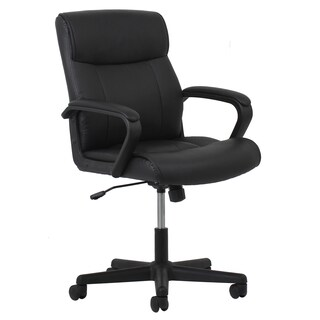 Porch & Den Roland Park Edgevale Black Leather Office Chair