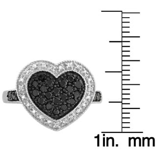 Jewelonfire Sterling Silver 1/2ct TDW Black and White Diamond Heart Ring