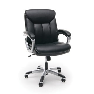OFM Essentials Black Leather Office Chair with Lumbar Support