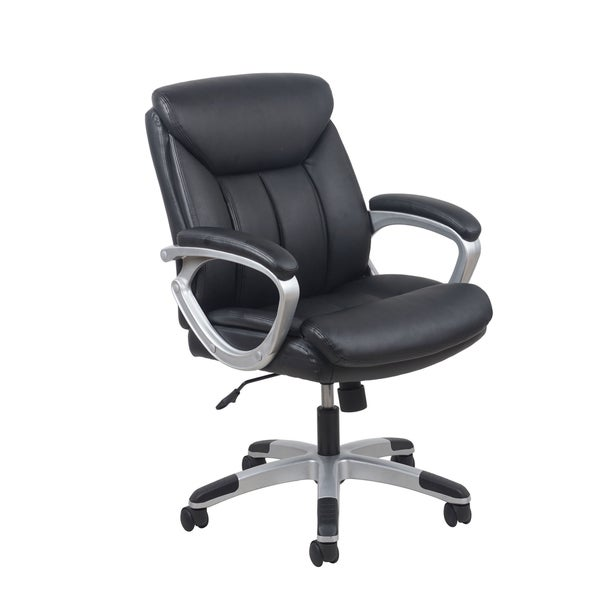 OFM Essentials Black Leather Office Chair With Lumbar Support Free