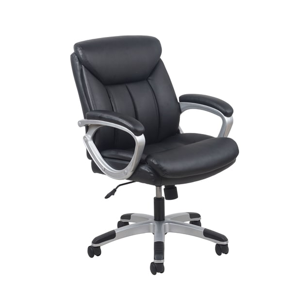 Ofm Essentials Black Leather Office Chair With Lumbar