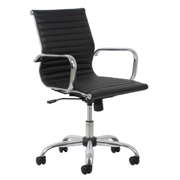 ofm essentials leather office chair with chrome accents - free