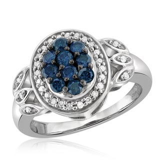 Jewelonfire Sterling Silver 1/2ct TDW Blue and White Diamond Ring