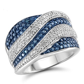 Jewelonfire Sterling Silver 1ct TDW Blue and White Diamond Ring