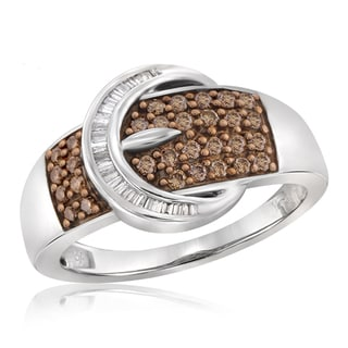 Jewelonfire Sterling Silver 1/2ct TDW Champagne and White Diamond Buckle Ring - Brown