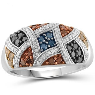 Jewelonfire Sterling Silver 1ct TDW Multi Color Diamond Ring ( I2-I3)
