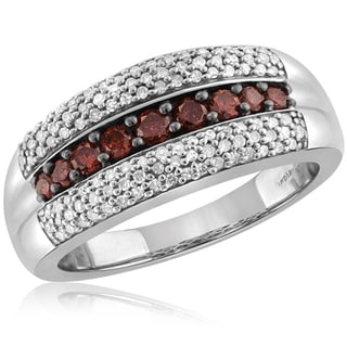 Jewelonfire Sterling Silver 3/4ct TDW Red and White Diamond Ring ( I2-I3)