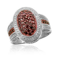 Jewelonfire Sterling Silver 1ct TDW Red and White Diamond Ring