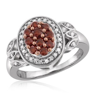 Jewelonfire Sterling Silver 1/2ct TDW Red and White Diamond Ring ( I2-I3)