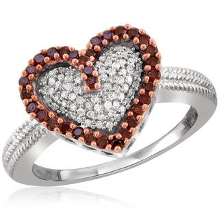Jewelonfire Sterling Silver 1/2ct TDW Red and White Diamond Heart Ring ( I2-I3)